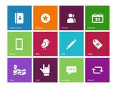 Sociala ikoner på färgbakgrund. — Stockvektor