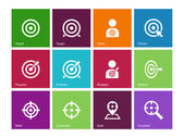 Target icons on color background. — Vector de stock