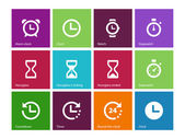 Time and Clock icons on color background. — Stock Vector