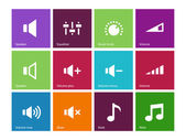 Speaker icons on color background. Volume control. — Stock Vector