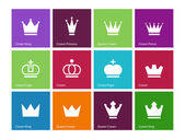 Crown icons on color background. — Stock Vector