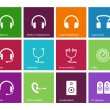 Stock Vector: Headphones and speakers icons on color background.