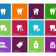 Tooth, teeth icons on color background. — Stock Vector #38441005