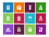 Gift box icons on color background. — Stock Vector