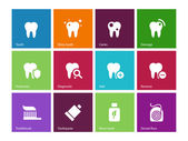 Tooth, teeth icons on color background. — Stock Vector