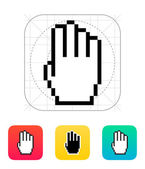 Four fingers. Pixel hand cursor icon. — Vector de stock