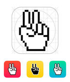 Pixel victory hand icon. — Stock Vector