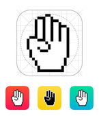 Four fingers. Pixel hand cursor icon. — Stock Vector