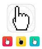 One finger. Pixel hand cursor icon. — Stock Vector
