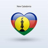 Love New Caledonia symbol. Heart flag icon. — Stock Vector