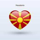 Love Macedonia symbol. Heart flag icon. — Stock Vector