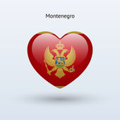 Love Montenegro symbol. Heart flag icon. — Stock Vector