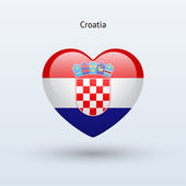 Love Croatia symbol. Heart flag icon. — Stock Vector