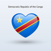 Love Democratic Republic of Congo symbol. Heart flag icon. — Stock Vector