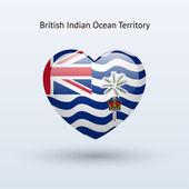 любовь символ британской территории в индийском океане. сердце значок флага. — Cтоковый вектор