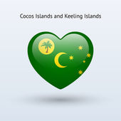 Love Cocos and Keeling Islands symbol. Heart flag icon. — Stock Vector