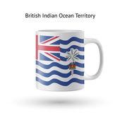 британская территория индийского океана флаг сувенирная кружка на белом. — Cтоковый вектор