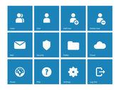 Ikony konta użytkowników na niebieskim tle. — Wektor stockowy