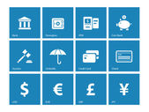 Banking icons on blue background. — Stock Vector