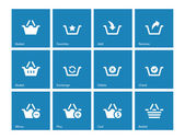 Shopping Basket icons on blue background. — Stock Vector