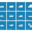 Cars and Transport icons on blue background. — Stock Vector