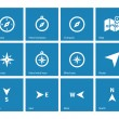Compass icons on blue background. — Stock Vector