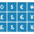 Exchange Rate icons on blue background — Stock Vector
