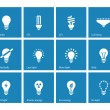 Light bulb and CFL lamp icons on blue background. — Stock Vector #40425371