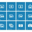 Постер, плакат: Photographs and Camera icons on blue background