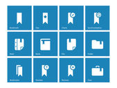 Bookmark, tag, favorite icons on blue background. — Stock Vector