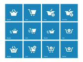 Checkout icons on blue background. — Stock Vector