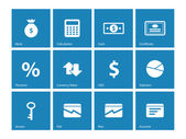 Economy icons on blue background. — Stock Vector