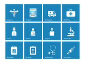 Hospital icons on blue background. — Stok Vektör
