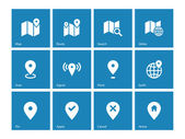 Map icons on blue background. GPS and Navigation. — Vecteur