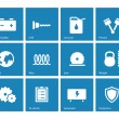 Stock Vector: Tools icons on blue background.