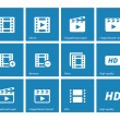 Video icons on blue background. — Stock Vector #40435605