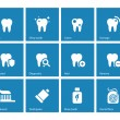 Stock Vector: Dental icons on blue background.