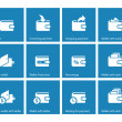 Personal wallet icons on blue background — Vector de stock