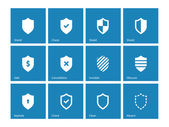 Shield icons on blue background. — Stock Vector