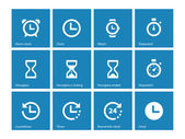 Time and Clock icons on blue background. — Stock Vector