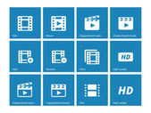 Video icons on blue background. — Stock Vector