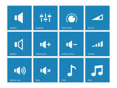 Speaker icons on blue background. Volume control. — Stock Vector