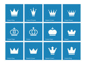 Crown icons on blue background. — Stock Vector