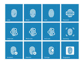 Fingerprint and thumbprint icons on blue background. — Stock Vector