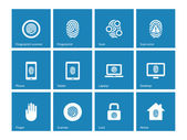 Touch id fingerprint icons on blue background. — Stock Vector