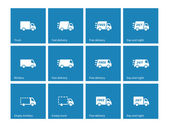 Delivery Trucks icons on blue background. — Stock Vector
