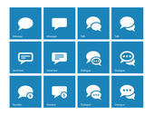 Message bubble icons on blue background. — Stock Vector