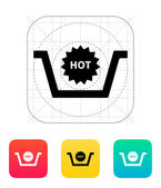 Basket with hot product icon. — Cтоковый вектор