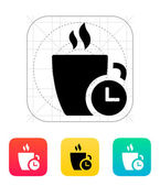Coffe cup with Time icon. — Stock Vector
