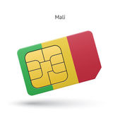 Mali mobile phone sim card with flag. — Stock Vector